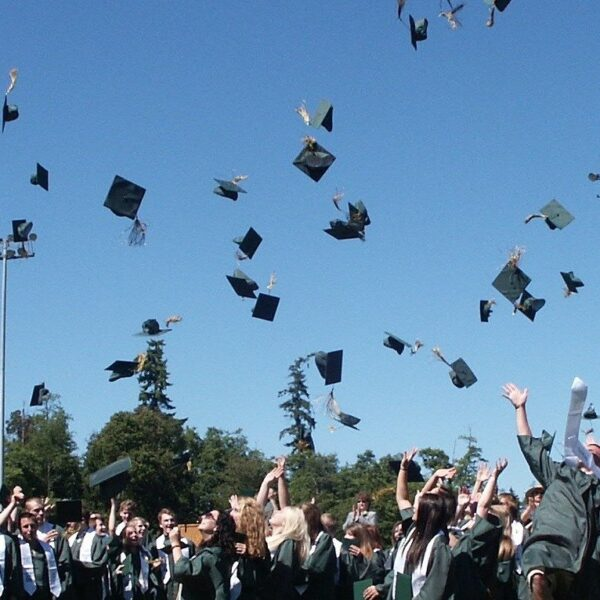 Graduation Caps Flying in Air